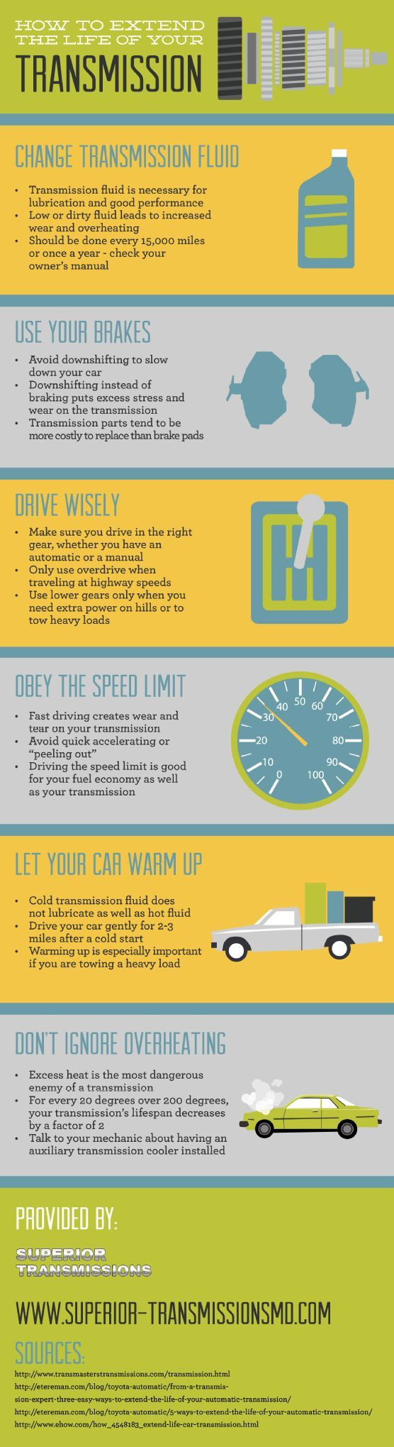 Braking instead of downshifting to slow down the car helps maintain the transmission and extend its life. Learn more about how to treat the transmission right in this infographic a transmission repair shop in Washington D.C.