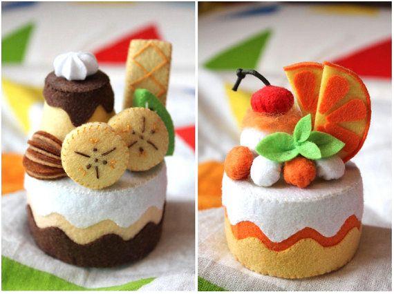 Patterns: Felt Chocolate Banana Cake & Orange Cake