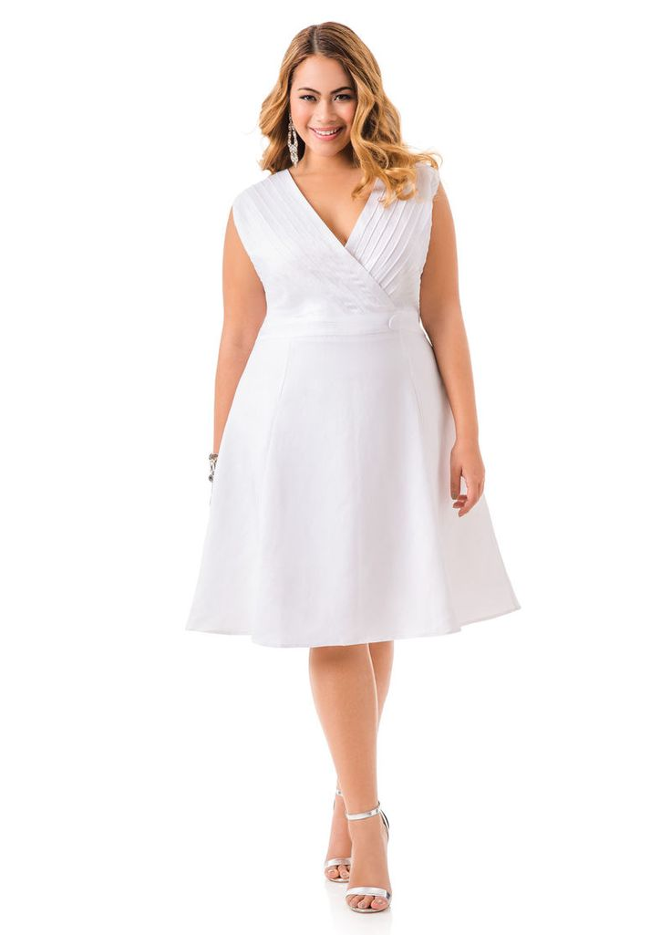 Linen Pleated Crossover Front Dress - Ashley Stewart