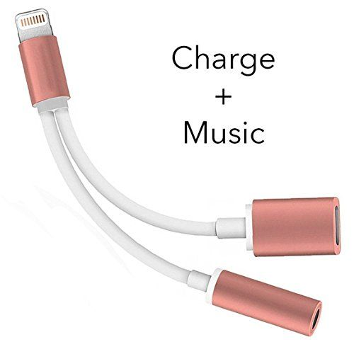 2 in 1 Lightning iphone 7 / 7 plus Adapter Charge and Headphone 3.5mm Audio Jack Splitter (rose gold)