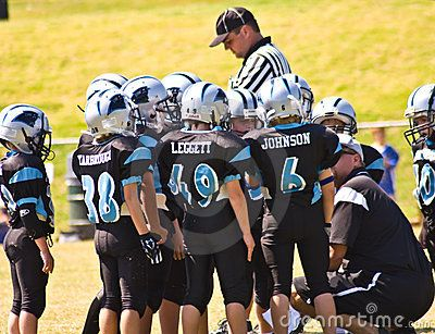 Coaching Little League Football Editorial Stock Image