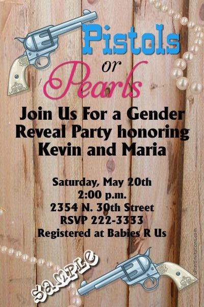 Gender Reveal Pistol or Pearls Baby Shower Invitations. Design online, download and print immediately!