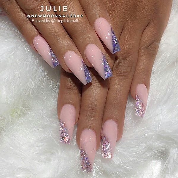 Theglitternail Get Inspired On Instagram 1 Or 2 Please Swipe Glitter Side French Which One Woul Pink Acrylic Nails Best Acrylic Nails Nail Designs