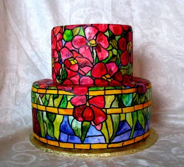 This is way too pretty not to Eat! Hand-painted stained glass cake. <3