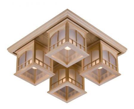 Люстра потолочная Velante 513-717-04 (дерево, японский стиль)