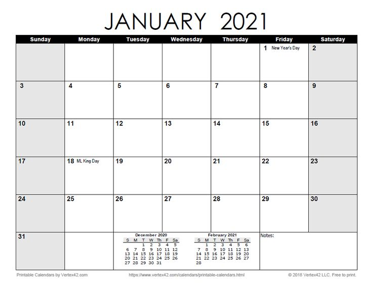 Download a free Printable Monthly 2021 Calendar from ...