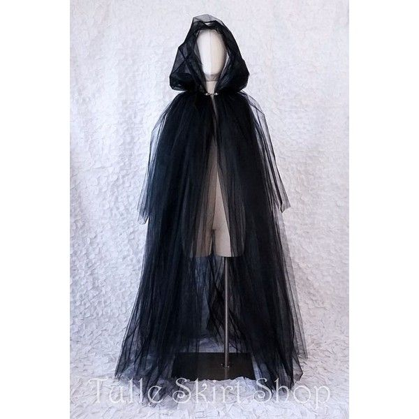 Long Tulle Cape with Hood Halloween Costume for Witch, Ghost, Spirit,... ❤ liked on Polyvore featuring costumes, adult zombie costume, zombie halloween costumes, adult women costumes, adult costumes and zombie costume