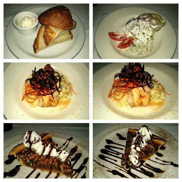 Delmonico's Lobster House,  Encino,  CA  The Wedge Salad,  Lobster Risotto,  Pecan Bourbon Pie,  Bread and Butter