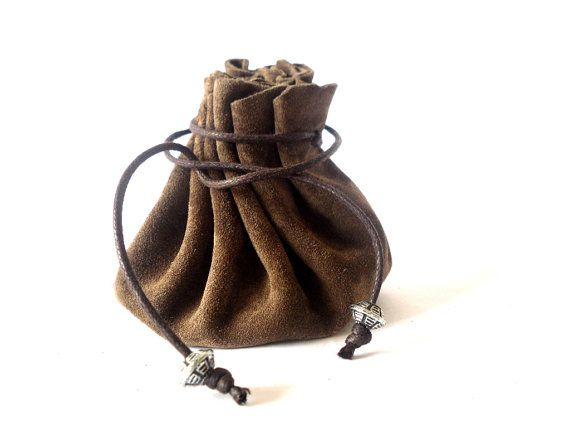 Drawstring leather pouch Coin Purse Dark brown by RadiLeather, $21.00