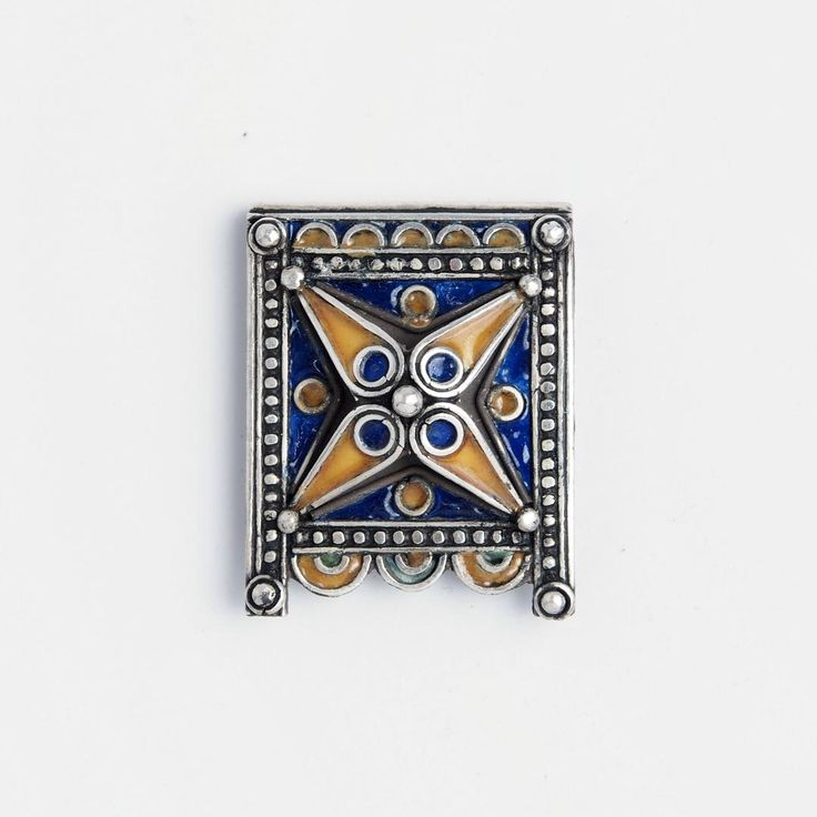 Amuleta Kitab, argint și email albastru și galben, Maroc #metaphora #morocco #silverjewellery #silverjewelry #pendant  #enamel  #amulet