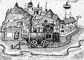 Jim Knopf: Die Insel Lummerland mit Lokomotive Emma, dem Lokomotivführer Lukas, und der Ladenbesitzerin Frau Waas