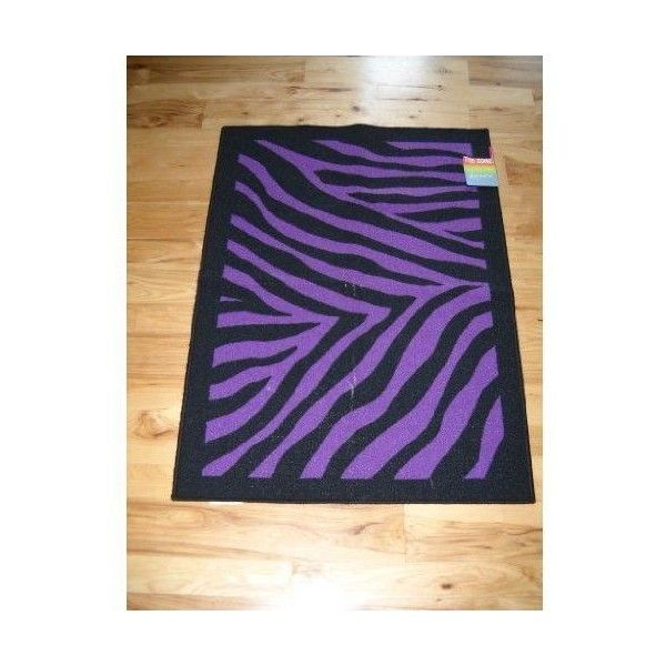 Decor Black Purple Zebra Stripe Throw Rug Teen Room Home Kitchen ❤ liked on Polyvore