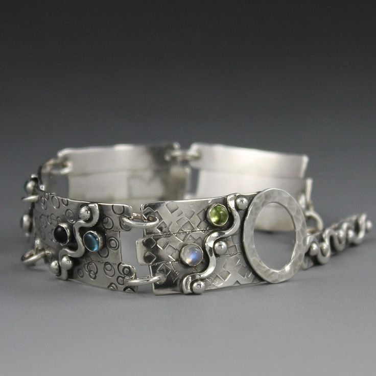 Sterling Silver Bracelet with Gemstones - Double ShotWave. $218.00, via Etsy.