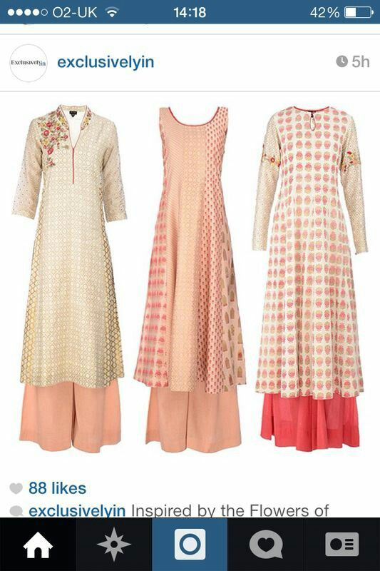 Casual plazzo suits in peach, pink and cream
