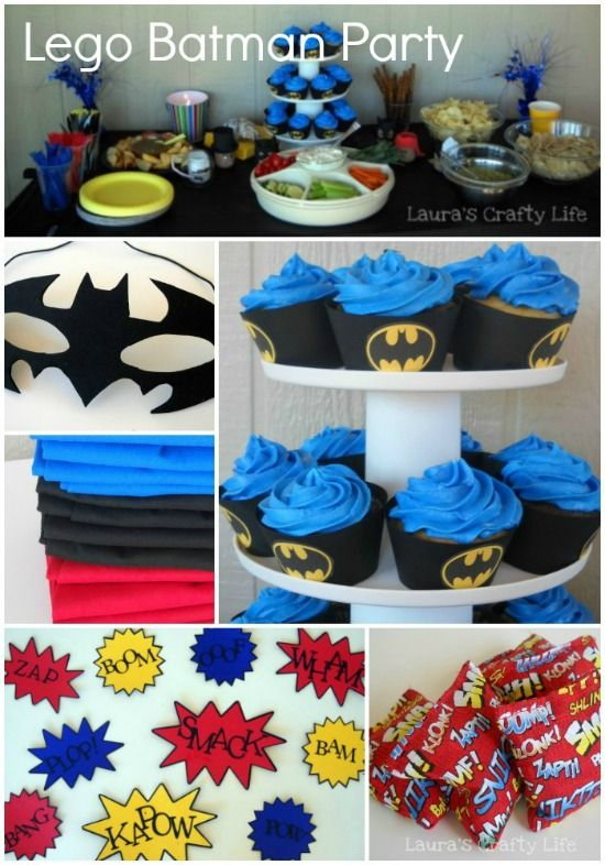 LEGO Batman Party. Throw an epic LEGO Batman party. Ideas for food, decorations, invitations, games, cupcakes, favors, and more!