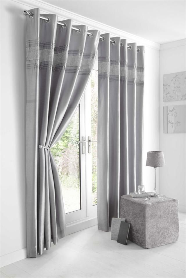Eyelet Faux Silk Diamante Lined Curtains Kimberley Silver