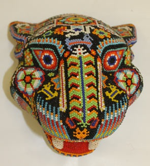 Huichol jaguar not woven, but beads attached with bee's wax