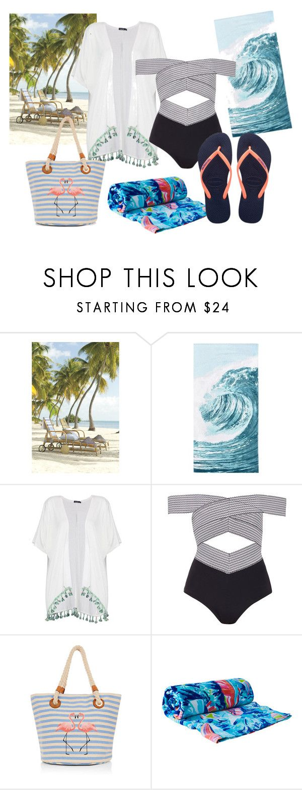 Sunny day at the beach by patsilvarte-blog on Polyvore featuring Boohoo, River Island, Havaianas, PBteen and Lilly Pulitzer