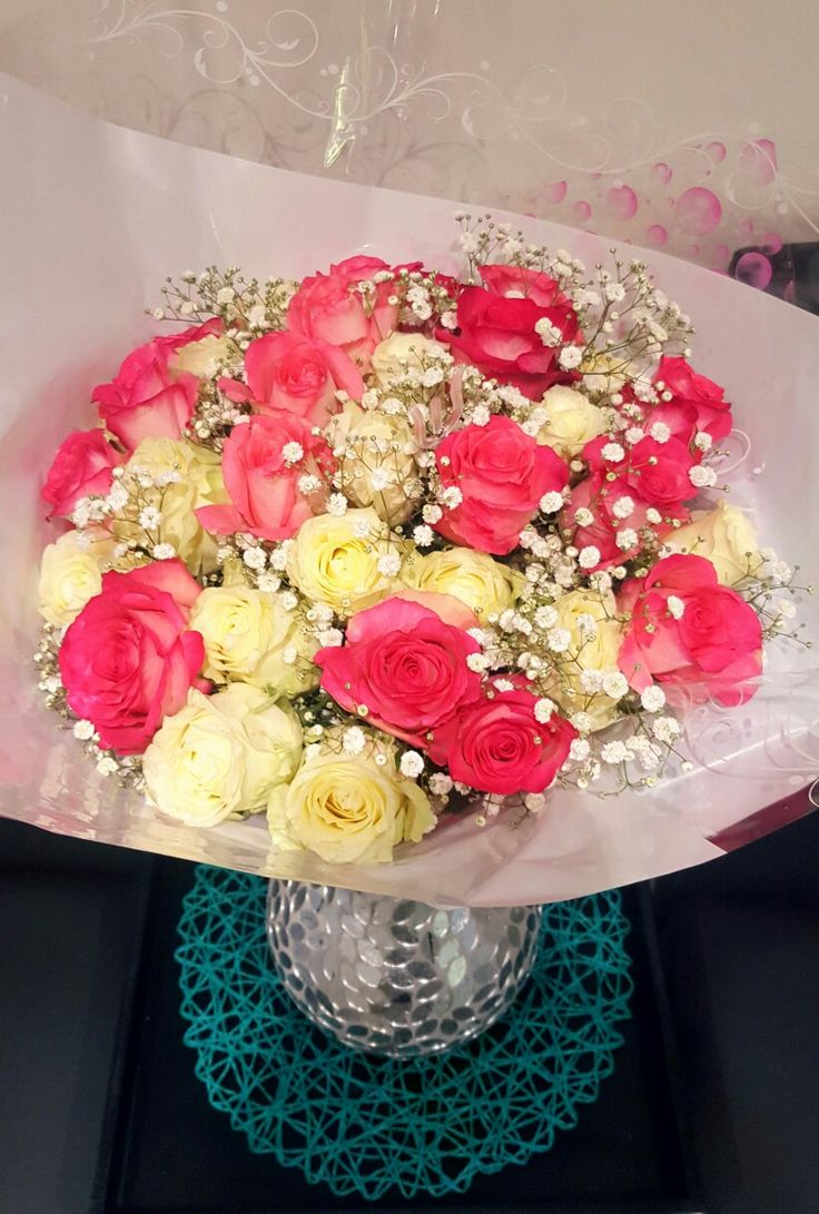 Spoiled with Beautiful Roses.  #Spoiled #Roses #Peachypink #White #Beautiful