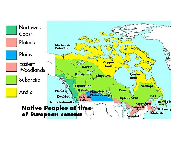 First Nations and Europeans in New France and Early Canada  A2.3 analyse and construct maps as part of their investigations into interactions among and between First Nations and Europeans A3.1 identify major First Nations in the Great Lakes–St. Lawrence region and Atlantic Canada at the time of contact with European