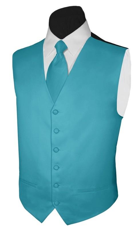 Vest Turquoise Paisley Full Back Necktie or Bowtie Tuxedo Wedding Steampunk Prom