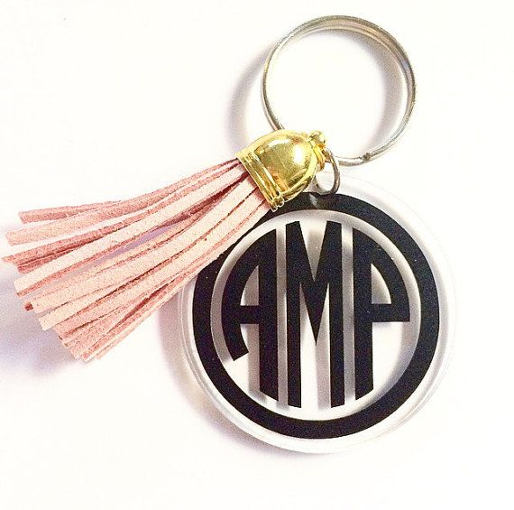 2 inch round keychain personalized with your monogram and choice of color leather tassel! They make a perfect gift for a friend, coworker, mom,