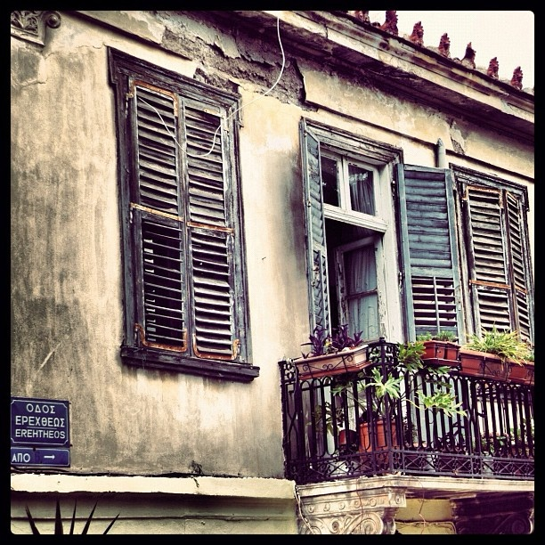 A balcony in Plaka, Athens, Greece.  Go to www.YourTravelVideos.com or just click on photo for home videos and much more on sites like this.