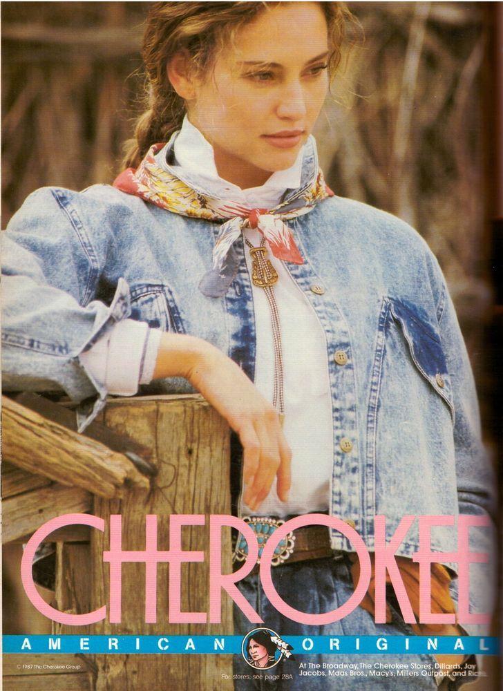 1987 Cherokee Jeans Jill Goodacre Print Advertisement Retro Ad Vintage VTG 80s | eBay