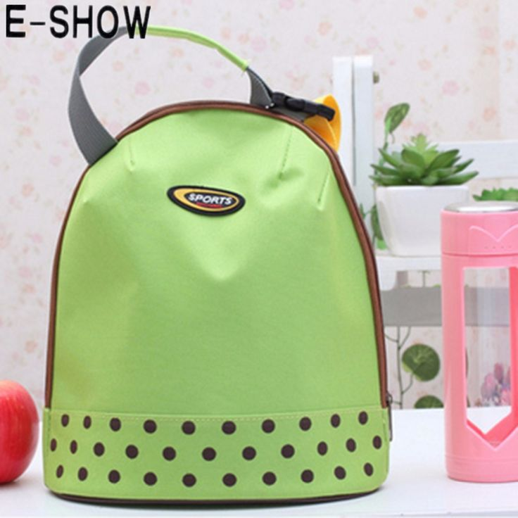 E-SHOW Polka Dots Decoration Thicken Lunch Tote Bag Lunch Organizer Bag with Metal Zipper Closure