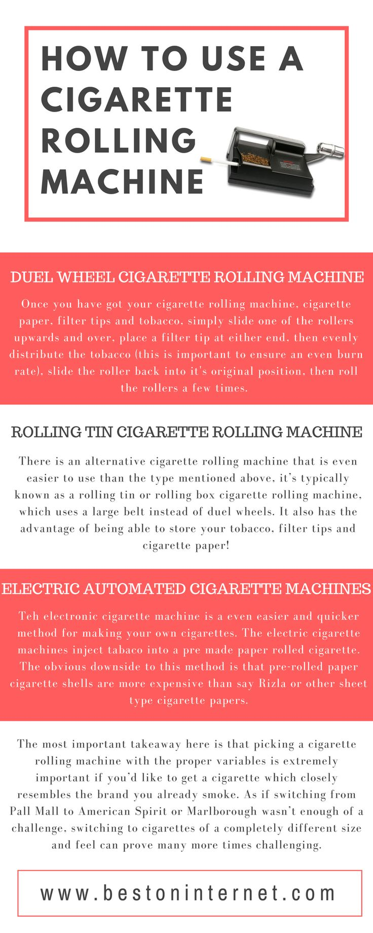 Tips for using Electric #Cigarette Rolling Machines http://www.bestoninternet.com/health-personal-care/household-supplies/electric-cigarette-rolling-machines/