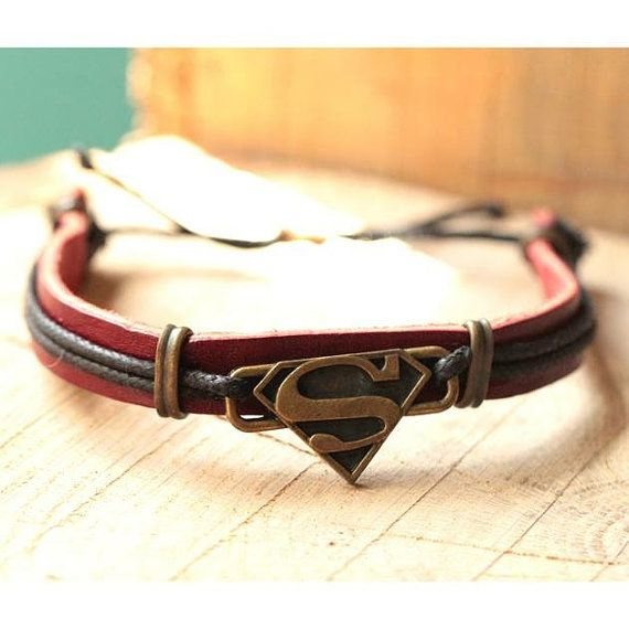 Superman Bracelet Leather Bracelet-Gift for Him by ElsternJewelry