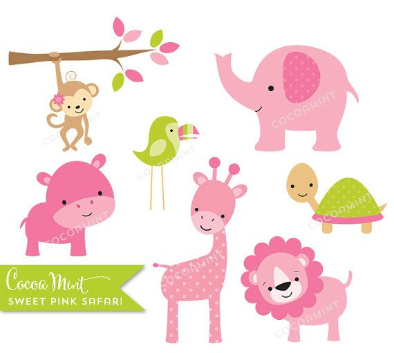 Dulce rosado Safari Clip Art por cocoamint en Etsy