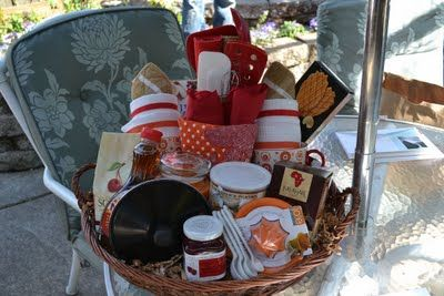 """""""Breakfast in Bed,"""" gift basket I put together for my cousins wedding.  Check out blog for complete list of contents! :) http://tylerandbrianastafford.blogspot.com/2011/06/darling-gift.html"""