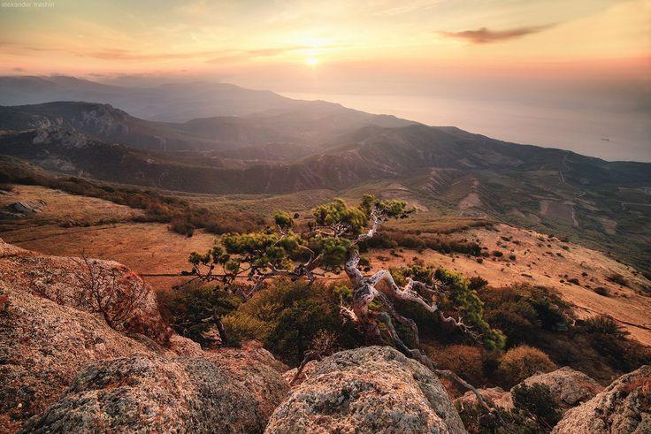 Восход солнца на продуваемой всеми ветрами вершине Южной Демерджи, Крым.