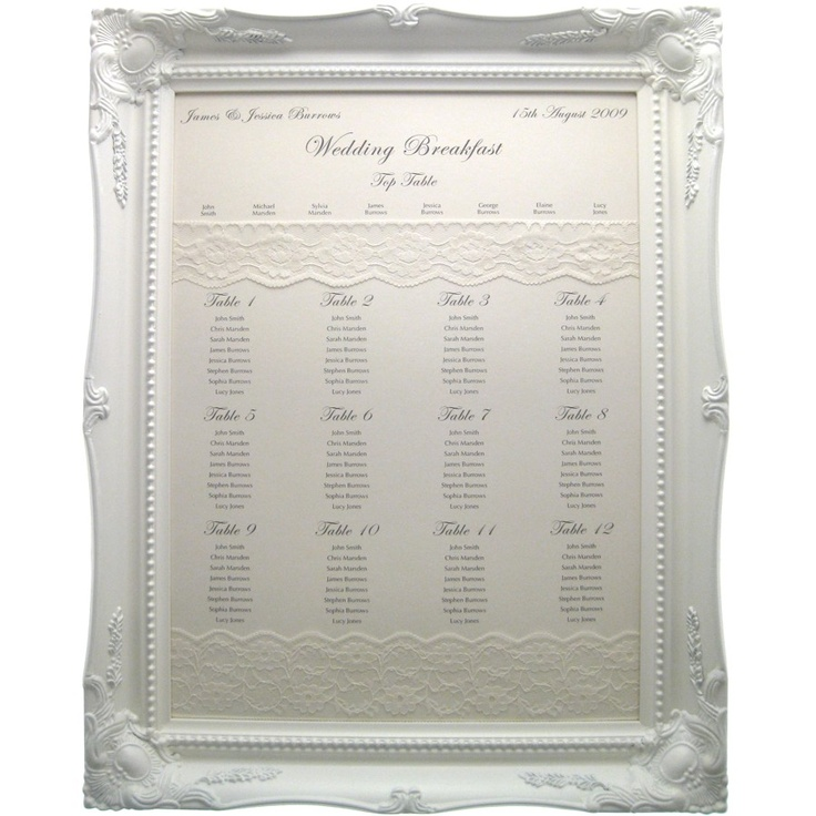 Framed Wedding Table Plan