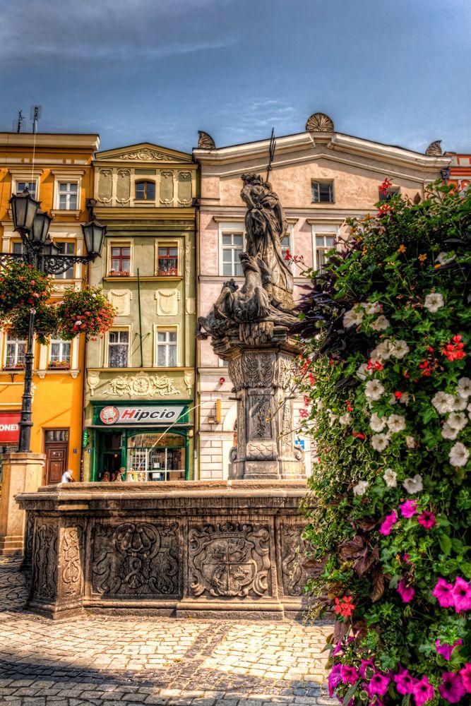 Świdnica, Poland (downtown) – Fountain. In southwestern Poland - Lower Silesia. Formerly Walbrzych Voivodeship.