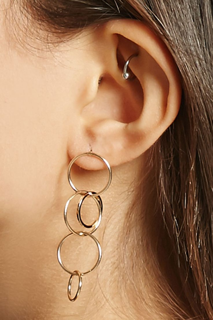 Jewelry amp watches gt fashion jewelry gt body jewelry gt body piercing - Linked Hoop Drop Earrings