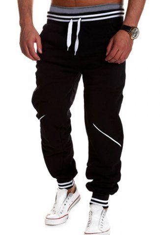 Loose Fit Stylish Lace-Up Color Block Rib Splicing Beam Feet Polyester Sweatpants For MenPants | RoseGal.com