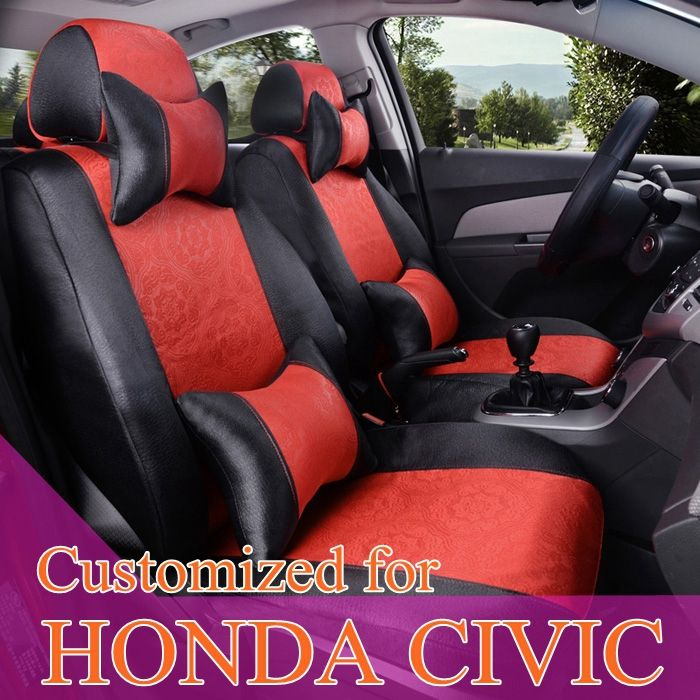 Custom car seat covers for Honda civic seat covers accessories sets ice silk auto seat cushions set car styling covers for seats