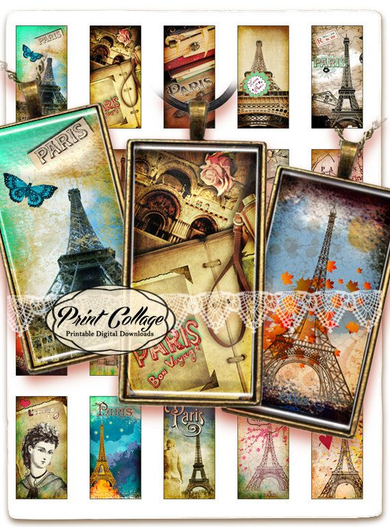 Vintage Paris / Domino Digital Collage Scrabble Tile 1x2 inch Printable Download for pendants magnets bezel settings photo trays c108