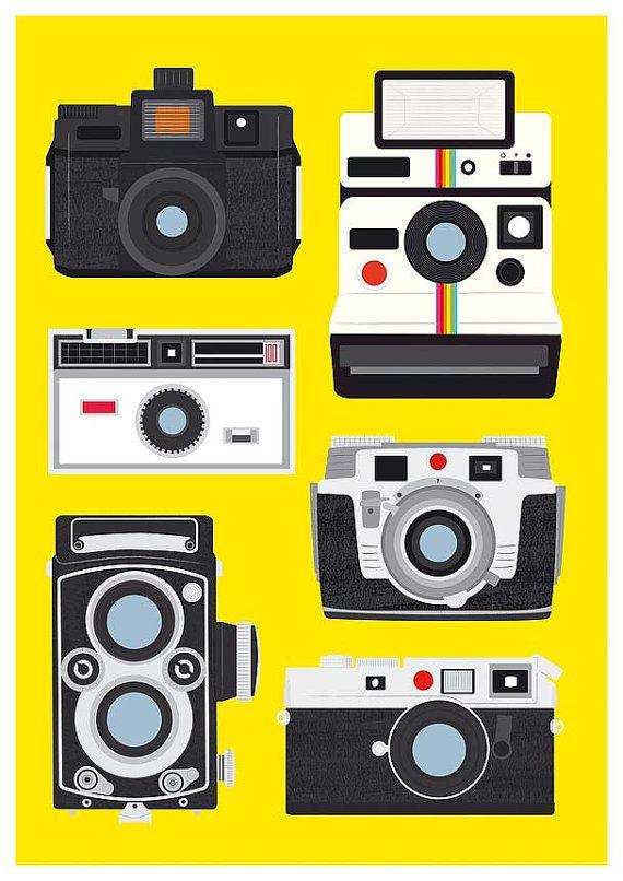 Camera print polaroid poster Vintage camera art baby por handz