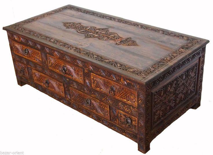 120x60 Cm Antik Look Beistelltisch Wohnzimmertisch Tisch Truhe Couchtisch NUR7