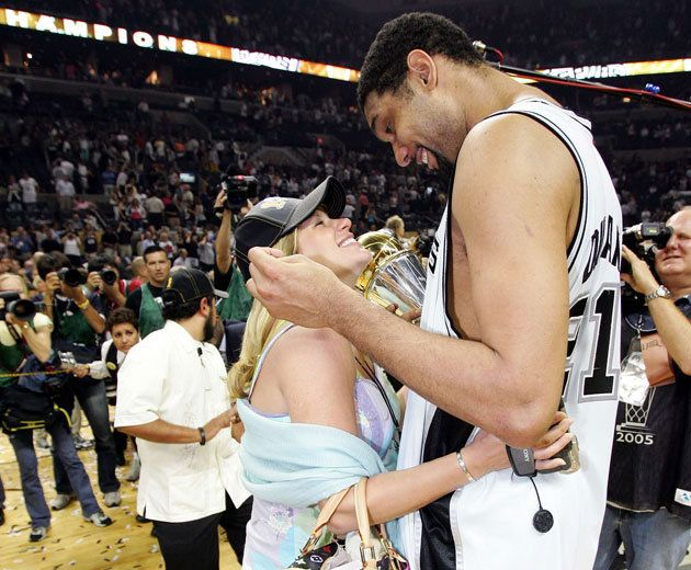 Tim and Amy Duncan celebrate following the 2005 NBA Finals (Getty Images)