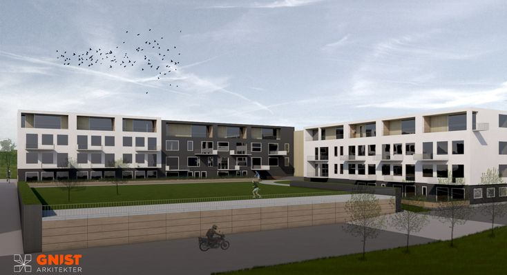 Fauske Skole - GNIST Arkitekter.  Renovating and rebuilding an old school to become a resitential housing project.  #Architecture #renovation #rendering #arkitektur #renovering