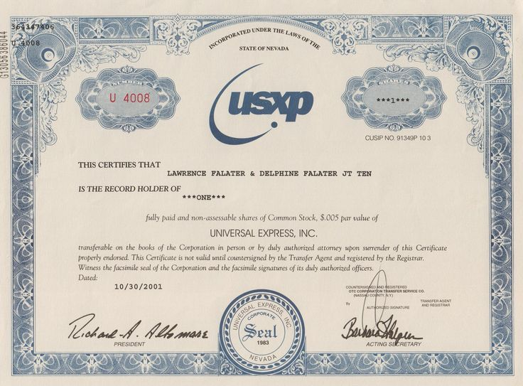 Universal Express Inc stock certificate (financial scandal) old - blank stock certificate template