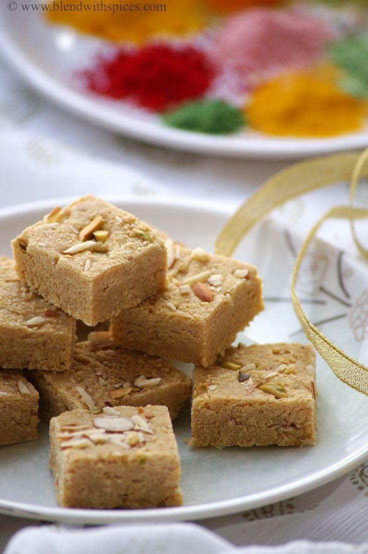 Mohanthal Recipe - Gram Flour Fudge Recipe - A Traditional Gujarati Sweet - Holi Sweets