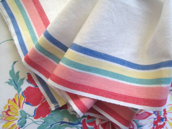 Vintage Kitchen Towel Red Pink Blue Yellow Green Stripe Circa 1950 Cotton  Cannon Home And Living Mid Century