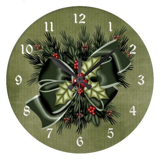 Holiday Greenery & Dark Green Bow Christmas Clock