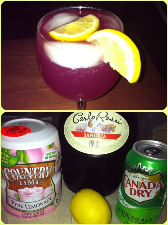 Sangria Mix-Made w/Carlo Rossi 4 oz Carlo Rossi Sangria 2 oz Pink Lemonade Splash of Ginger Ale Slices of lemon