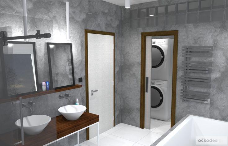Mini šatna přímo v koupelně spojená s prádelnou